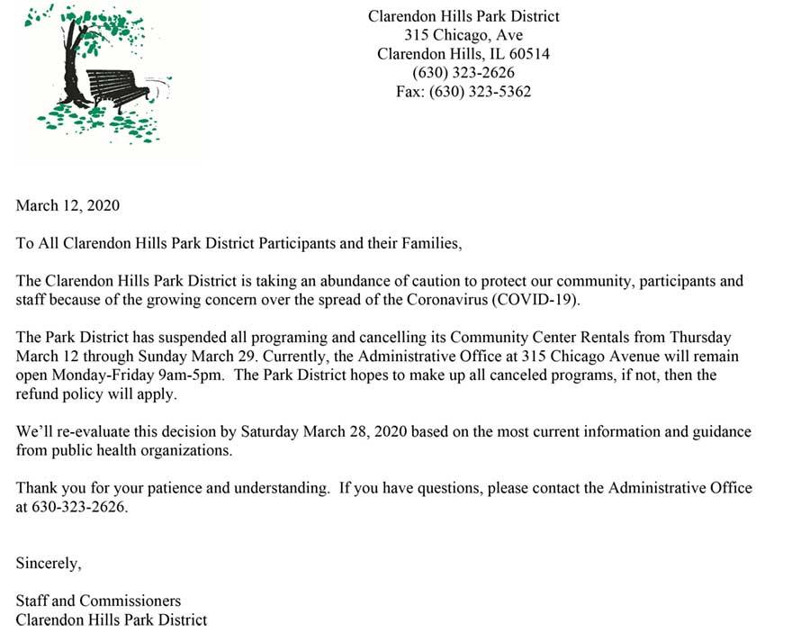 Letter to Participants Regarding COVID-19