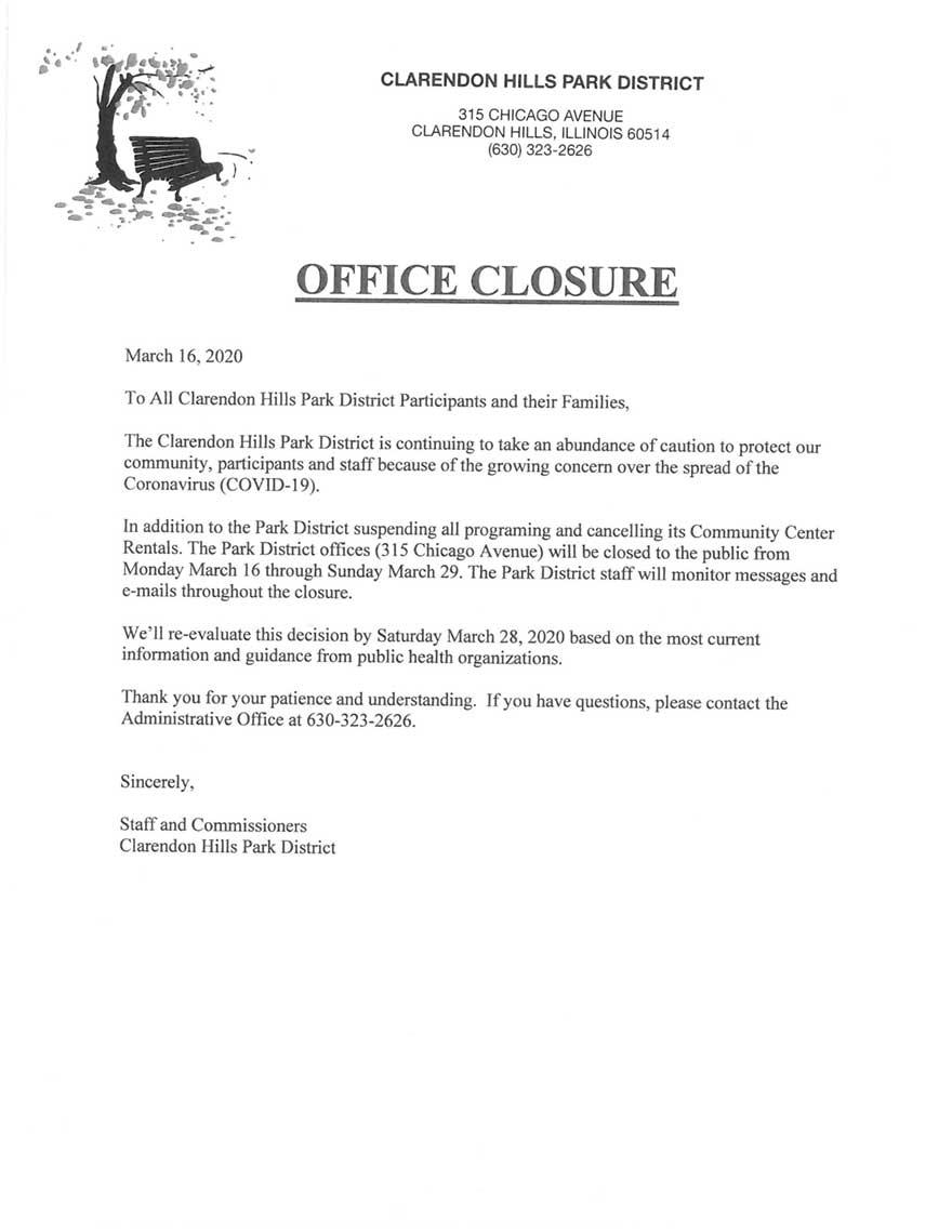 Clarendon Hills Park District Office Closure