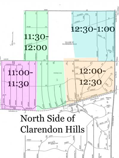 Map of North Side of Town - One Day Route