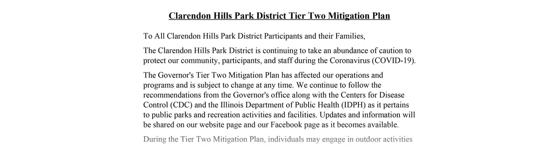 Covid 19 Tier Two Mitigation Plan