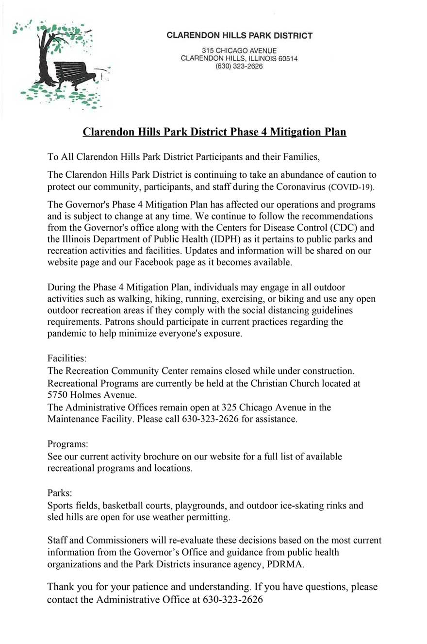 Clarendon Hills Park District Phase 4 Mitigation Plan