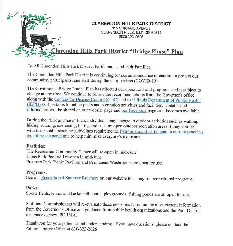 Clarendon Hills Park District Bridge Phase Plan